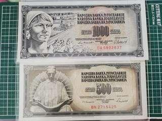 🚚 Yugoslavia 1000 & 500 Dinara 1981/1986