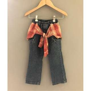 【二手 8成新】  日本 假兩件式 腰圍彈性 牛仔褲 牛仔長褲 腰平量22拉開30 臀36 長60 童裝 約5歲