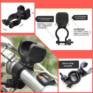🆕Bicycle electric bike & scooter ☑️360° swivel torch holder. Can also be used to hold sling bag, plastic bags etc. 自行车电动车可旋转电筒柄架