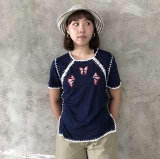 🌴藍染蝴蝶刺繡復古短袖棉質上衣 女款Vintage 日本帶回古著