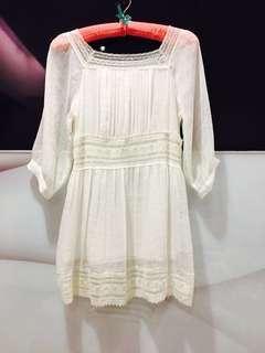 🚚 破盤價#白色全新波西米亞雪紡洋裝(F)