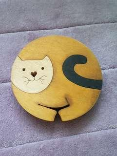 Cat shaped wooden block sculpture toy display