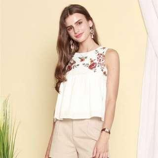 ACW Garden Floral Swing Top In White (size L)