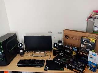 "pc game dan editing full set + monitor 24"" full hd"