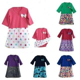 🎆👶0-12m Baby Baju Raya Girl Fashion Baju Kurung Rompers Jumpsuits Ribbon Design 2