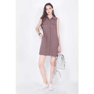 Fayth Highlanders Utility Shirt Dress in Mink size M