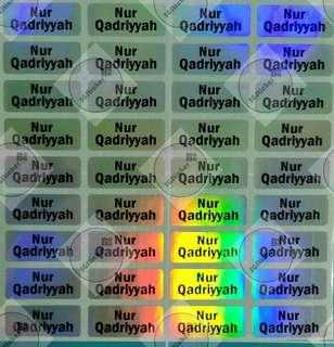 Holographic Silver Small Name stickers