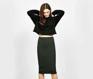 Bershka Ribbed Midi Pencil Skirt