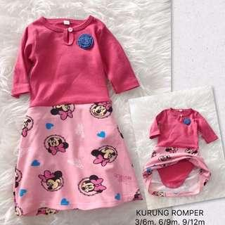 🎆👶0-12m Baby Baju Raya Girl Fashion Baju Kurung Rompers Jumpsuits Cartoon Design 3