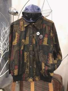🚚 日本古著復古老外套/幾何拼圖