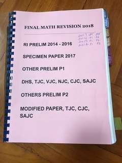 Final Math revision 2018 include raffles institution prelim math