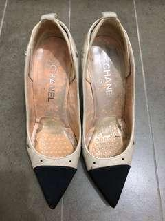 Authentic Chanel beige quilted Heels