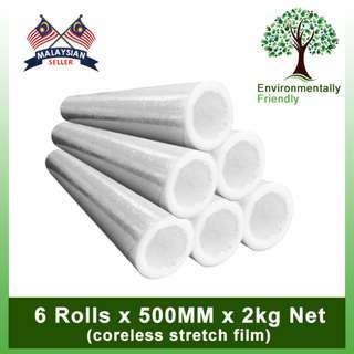 (Promo) 6 Rolls x  Evio Asia Coreless Stretch Film 500mm (2kg net)