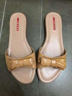 Authentic Prada Patent Nude Bow Slippers