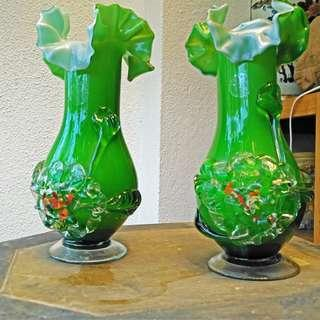Glass vases with matching plates