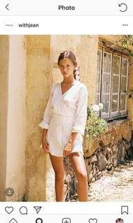 With jean linen dress