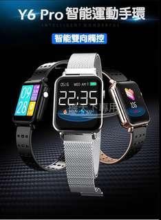 《喀喀。角》雙觸控智能藍牙手環Y6pro 智慧手環 運動手環 1.3英吋TFT彩色螢幕 來電提醒 訊息提醒 防水 鋼錶帶