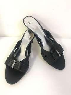 $25 Kiyo Black Slip-On Heel Sandals