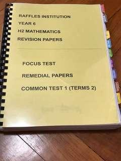 RI Y6 H2 mathematics A-level revision