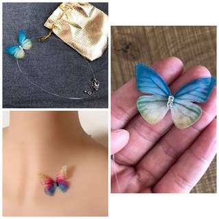 Brand new butterfly necklace / choker with transparent fishing line chain