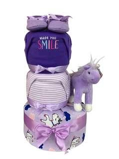 🚚 3 Tier Diaper Cake – Smile Unicorn Baby Gift Hamper  🦄😊