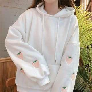Strawberry Embroidered Fleece Korean Style Hoodie