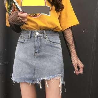 Denim High Waist Distressed Korean Skirt