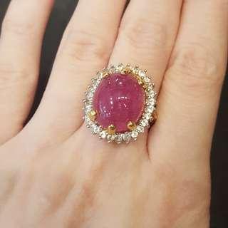 (sold) ruby ring 925 white topaz