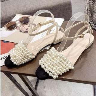TC3479 Korea Sling Back Pearly Shoes