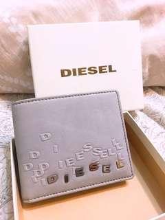 DIESEL MENS WALLET 真皮淺灰短夾錢包 有零錢包 男皮夾 中性 女