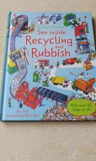 An Usborne flap book see inside recycling and rubbish, 英文圖書
