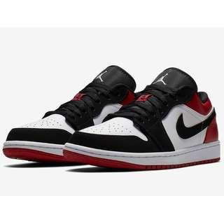 "Authentic Nike Air Jordan 1 Low ""Black Toe"""