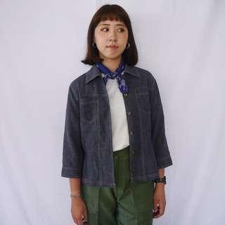 🌴90s輕磅單寧牛仔七分袖襯衫 薄外套 女款Vintage 日本帶回古著