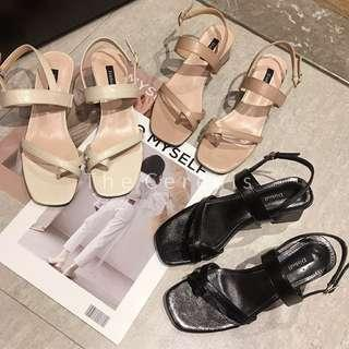 TC3481 Korea Strap Sling Back Sandals (White,Pink,Black)