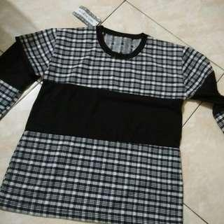 Black and white tartan top