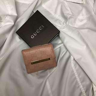 Gucci 壓紋 粉色 短夾 六卡一鈔 短夾 美品 瑞奇二手精品