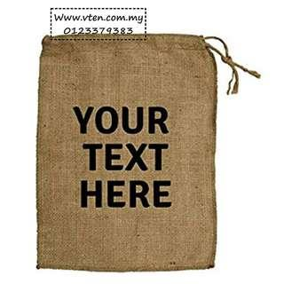 [Pre Order] Custom made Gunny Bag Drawstring Pouches Bag Gift Jute Bag Customized Logo (Not Real Price)