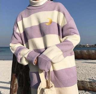 Moon Crescent Embroidered Striped Knitted Korean Style Sweater