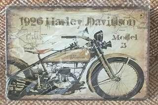 🚚 Vintage Retro Harley Davidson tin plate decor