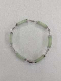 14K White Gold Burmese Jade Bracelet