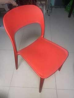 2 Red plastic chair ($90 both, $50 each)