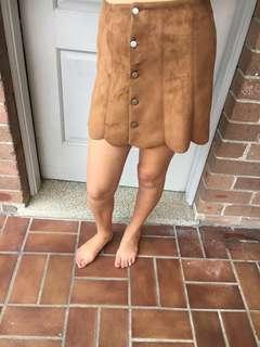Faux Swede brown scalloped edge button up skirt