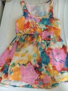 Colourful watercolour dress