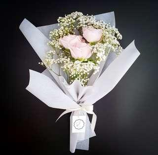 Roses and Baby's Breath Bouquet