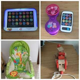 🚚 Fisher Price Baby Rocker and Toys