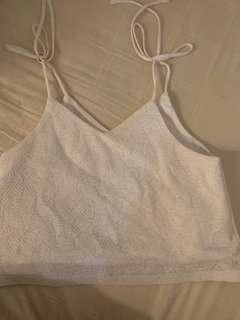 runway bandits tie camisole white top