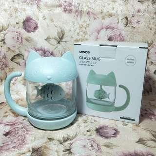 貓咪玻璃泡茶杯(蒂芬妮藍)
