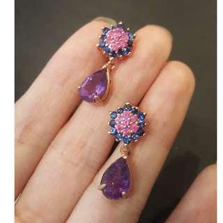 (sold) ruby amethyst earring 925