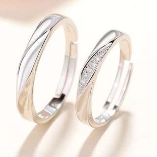 Couple Austrian Diamond Wedding rings adjustable free size