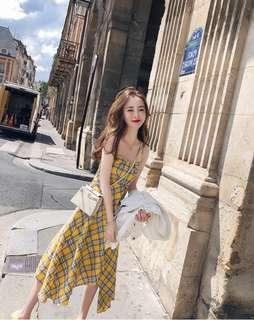 🚚 [PO] Uzzlang style plaid sling skirt